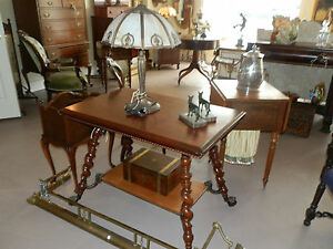 ANTIQUE-MERKLEN-BROTHERS-LIBRARY-TABLE-WITH-CARVED-APRON-amp-LION-HEAD-FEET