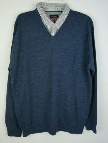 Men/'s Pierre Cardin V-Neck Mock Shirt Pull Taille L Bleu Azur-Neuf