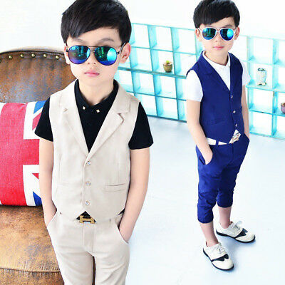 daf77ee304e1f Details about Baby Boys Suits Kids Blazer Boys Formal Suit For Weddings  Vest+Pants 2pcs 3-10Y