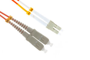 LC to SC Multimode Duplex 50/125 OM2 Fiber Patch Cable, 3 Meters, Lifetime Wty