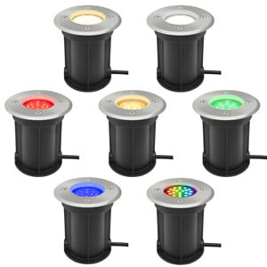 LED GU10 Mains Stainless Steel Round Ground Decking Driveway Walkover Light LED
