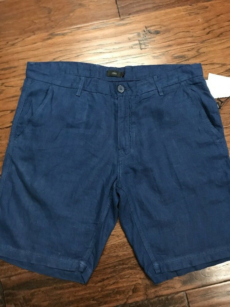 NWT Mens Onia bluee Linen Shorts Size 40 Msrp 120.00 (m2)