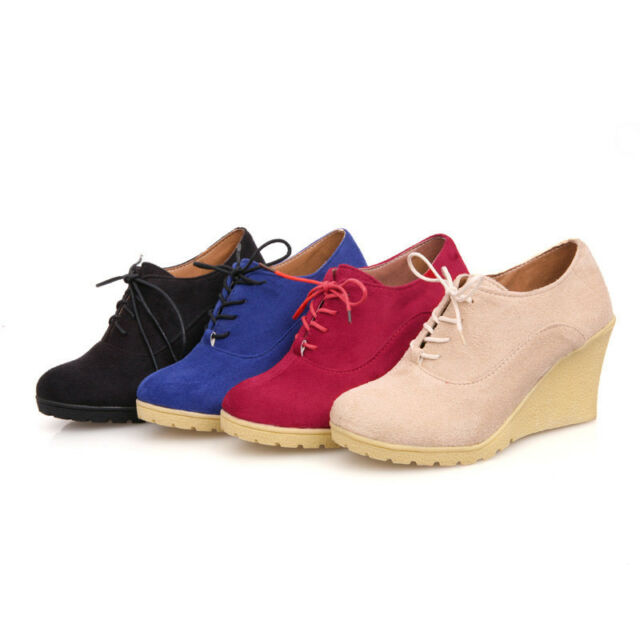 Women New PU Leather Boots Wedge Ankle High Heel Platform Pumps Shoes Ladies F