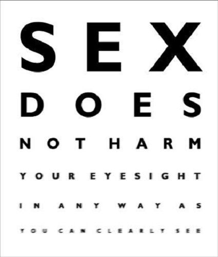 Funny Humour Birthday Greeting Card Eye Test Chart Optician Sex Not