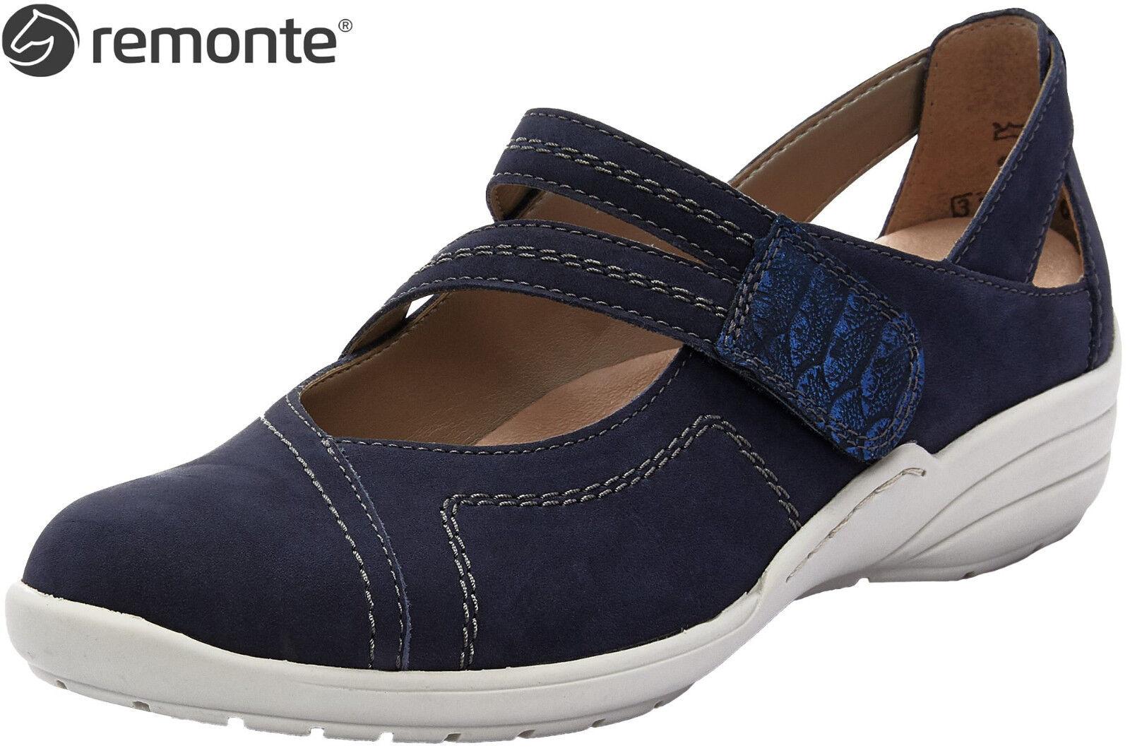Remonte Damen Schuhe R7615-14 Ballerina Blau Leder Komfortweite lose Einlage