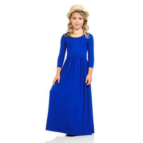 Kid Long Sleeve Autumn Dress Plain Maxi Dresses Girl Fashion Clothes Casual Wear
