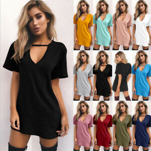 Ladies-Womens-Choker-V-Neck-Lace-up-Tops-T-Shirt-Casual-Party-Mini-Dress-Blouse