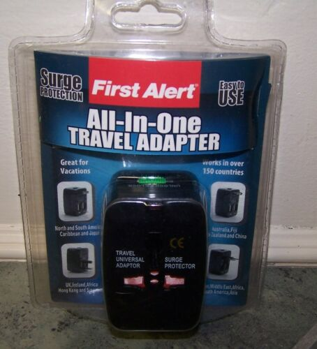New! First Alert ALL-IN-ONE TRAVEL ADAPTER