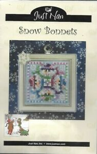 Just-Nan-SNOW-BONNETS-Whimzi-JN172-Kit-with-Chart-amp-Fabric-Christmas-Snowman