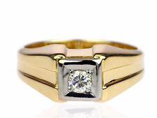 Solitär 585 Gelb Gold 0,20 ct Brillant Top Wesselton Herren Damen Ring ! 7,9 g