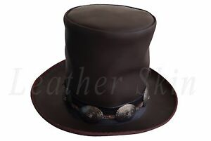 GUNS N ROSES SLASH Leather Hat Deluxe Genuine Brown Western Style ... 20d36f10687e