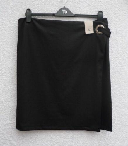 BNWT Ladies Smart Black Mock Wrap Over Front Silver Loop Trim Skirt UK 20 22