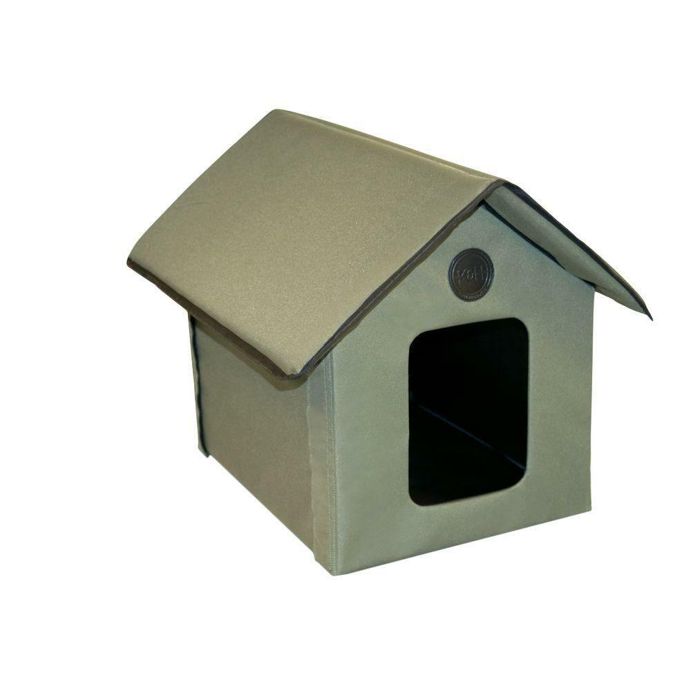 Outdoor Heated Kitty House Waterproof Nylon Cat Home Furniture with 2 Exits