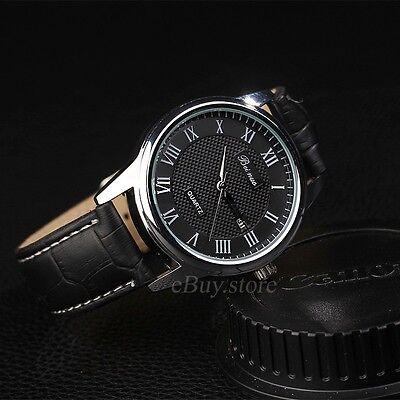 Men's Fashion Leather Stainless Steel Luxury Sport Analog Quartz Day Wrist Watch