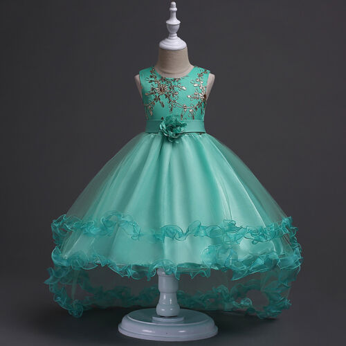 Kids Baby Tulle Party Princess Prom Occasion Wedding Gown Bow Flower Girls Dress