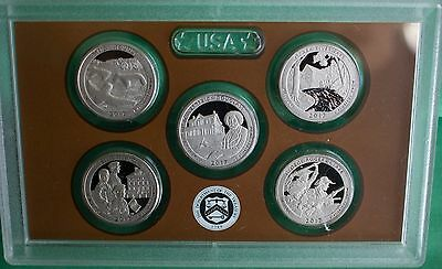 2017 S SILVER PROOF America the Beautiful Quarters ATB No BOX COA 5 Coins 25¢