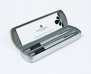 100% De Qualité Diplomat Esteem Fountain & Rollerball Pen Set Brushed Steel Chrome Trim £80+