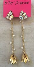 BETSEY JOHNSON Dream Of Betsey Front Back Floral Linear Pearls Gold Earrings