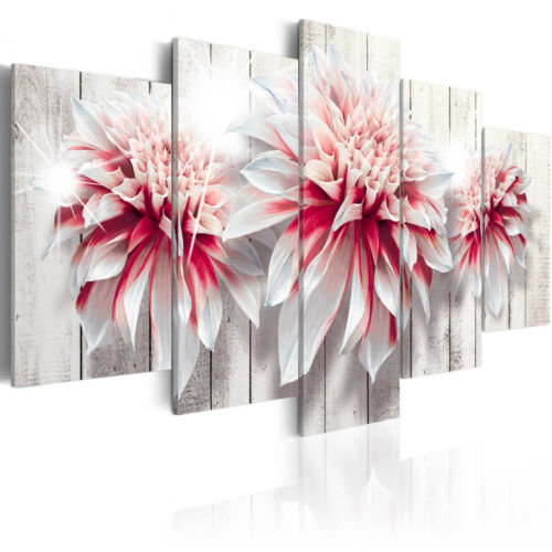 Wandbilder xxl Blumen Dahlie Leinwand Bilder Holzoptik Wohnzimmer b-C-0053-b-m