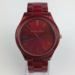 Michael-Kors-Slim-Runway-Women-039-s-Stainless-Steel-Watch-42MM-Red-MK3895-READ