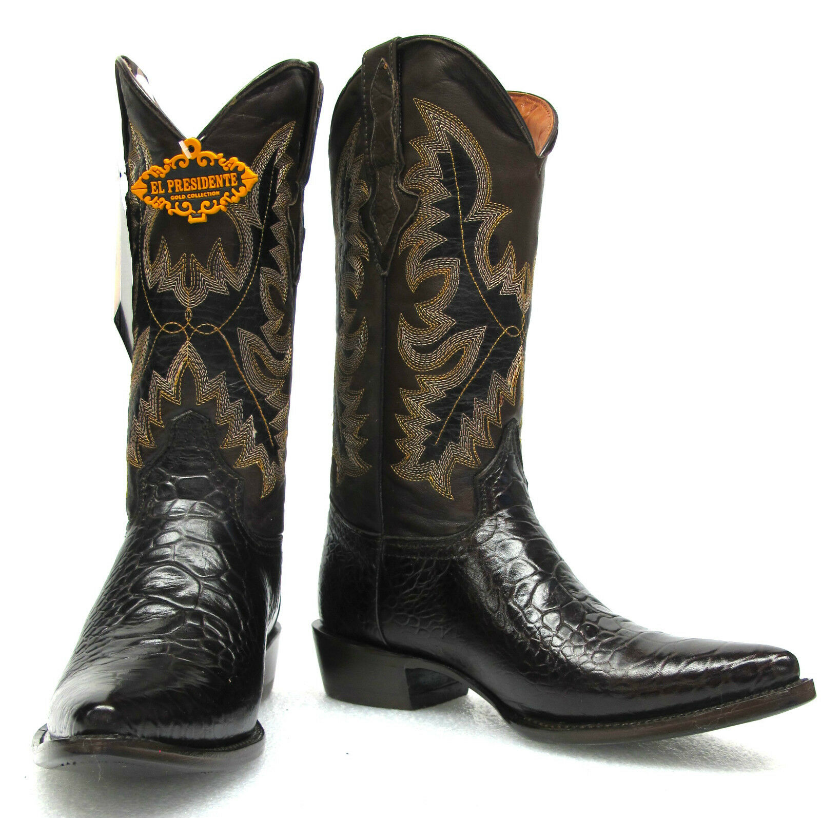 Men's New Turtle Belly Design Leather Cowboy Western Rodeo Boots J-Toe Brown