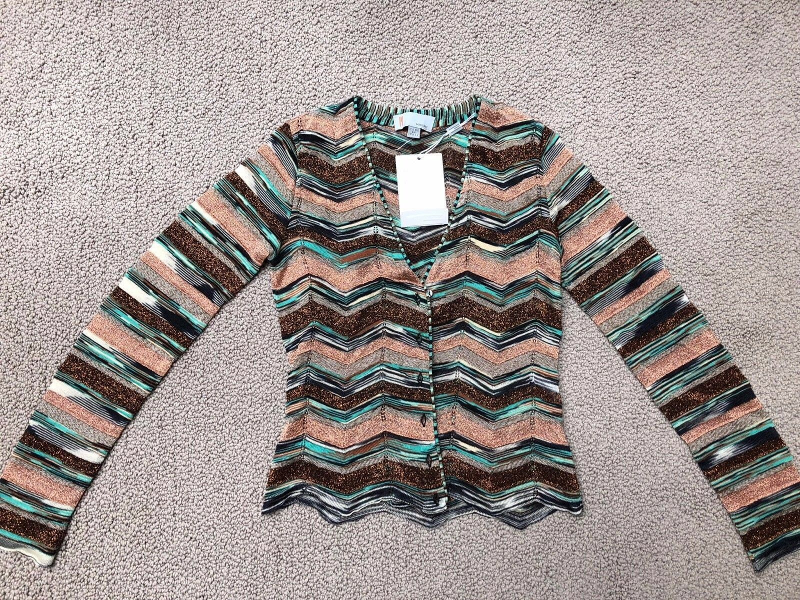 M Missoni LIGHT Button Front Chevron Metallic Knit Cardigan Sweater IT 40 US 2