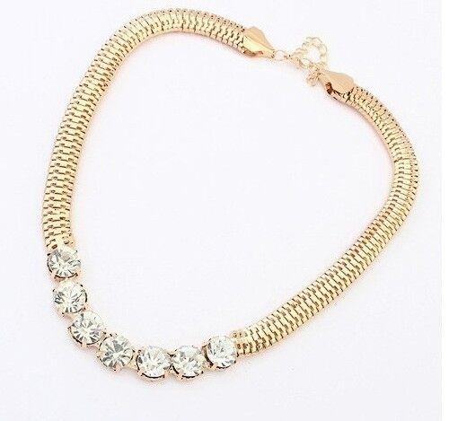 Aleación de Serpiente Cadena Collar Enchapado En Oro Cristal 16ins 41cms Reino Unido Vendedor