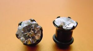 NEW-PAIR-OF-0g-8MM-with-CZ-BLACK-TITANIUM-single-flare-PLUGS-gem