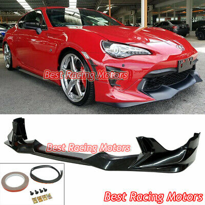 Front Bumper Lip Compatible With 2017-2019 Toyota 86 GR Style Unpainted Black PU Polyurethane Extension Body Kit Panel Add On by IKON MOTORSPORTS 2018