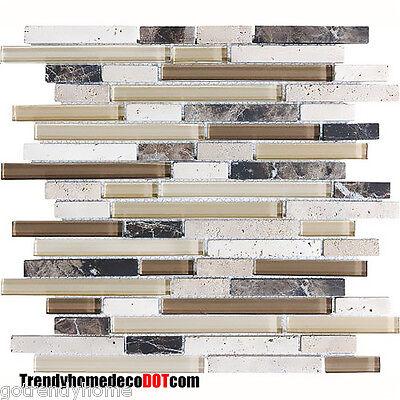 10-SF Brown travertine Marble Glass Mosaic Tile kitchen backsplash wall bathroom
