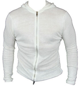 New-Armani-Exchange-Mens-Light-Hooded-Cardigan-in-White-Colour-Size-M