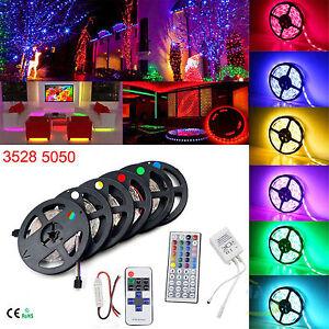 SMD-RGB-5M-Led-Strip-3528-5050-Warm-White-300-Light-Strips-Key-Remote-and-Power