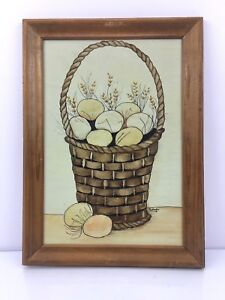 VTG-Signed-Original-Art-Easter-Painting-Farm-Farmhouse-FOLK-Prim-EGGS-BASKET