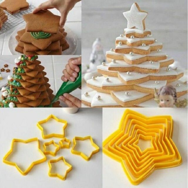 6 Pcs 3d Christmas Tree Five Pointed Star Cookies Cutter Baking Cake Mold Sell