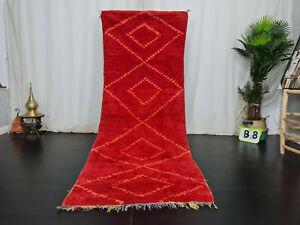 """Vintage Moroccan Tribal Handmade Rug 3'5""""x8'4""""  Berber Red Geometric Wool Carpet"""