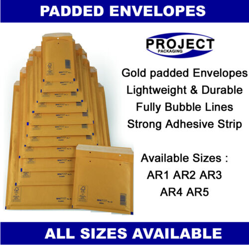 500 x AROFOL PADDED ENVELOPES BUBBLE MAIL BAGS 110x165 mm AR1 A//000 GOLD COLOUR