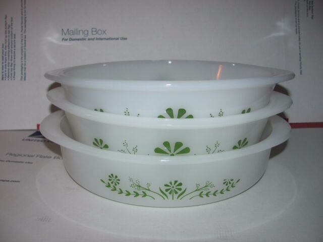 Vtg Glasbake White w Green Daisy Floral Milk Glass Casserole Dish Bakeware Set 3