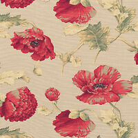 """Cotton 100% Slub weave Upholstery Curtain Fabric Antique Retro Floral Red 44""""W"""