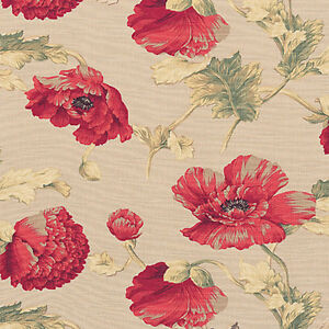 Cotton-100-Slub-weave-Upholstery-Curtain-Fabric-Antique-Retro-Floral-Red-44-034-W