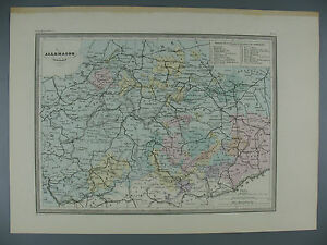 Map Of Central Germany.Details About Original Color Lithograph Map Of Central Germany Fosset Paris 19th Century