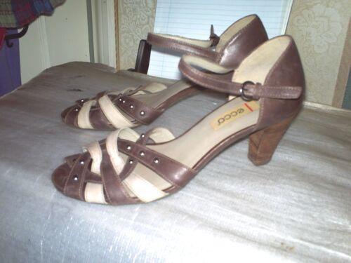 cinturino pelle sandali con 3 marrone alla in buone Ecco in caviglia con tacco condizioni 39 Sz pollici qfTnFE