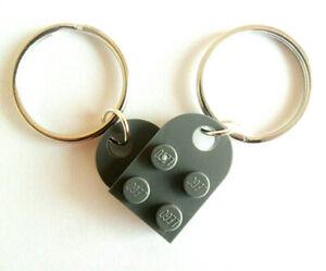 Dunkelgrau-Lego-Herz-Schluesselanhaenger-Set-Paare-seine-und-ihre-034-Lego-Herz-Schluesselanhaenger