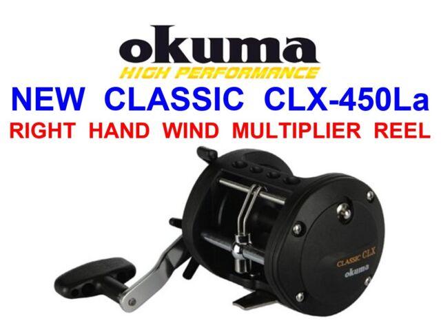 2 NEW OKUMA CLASSIC CLX 450La MULTIPLIER REELS SEA FISHING UPTIDE BOAT TROLLING