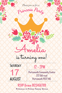 Personalised Princess Birthday Party invitations x 10 - Bexleyheath, Kent, United Kingdom - Personalised Princess Birthday Party invitations x 10 - Bexleyheath, Kent, United Kingdom