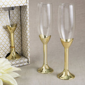 Image Is Loading Gold Plated Toasting Flutes Champagne Gles Wedding Toast