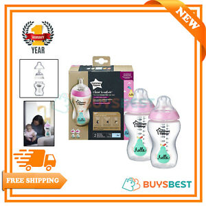 Details About 2x Tommee Tippee Pink Hello Closer To Nature Decorated Bottles 340ml 42263089