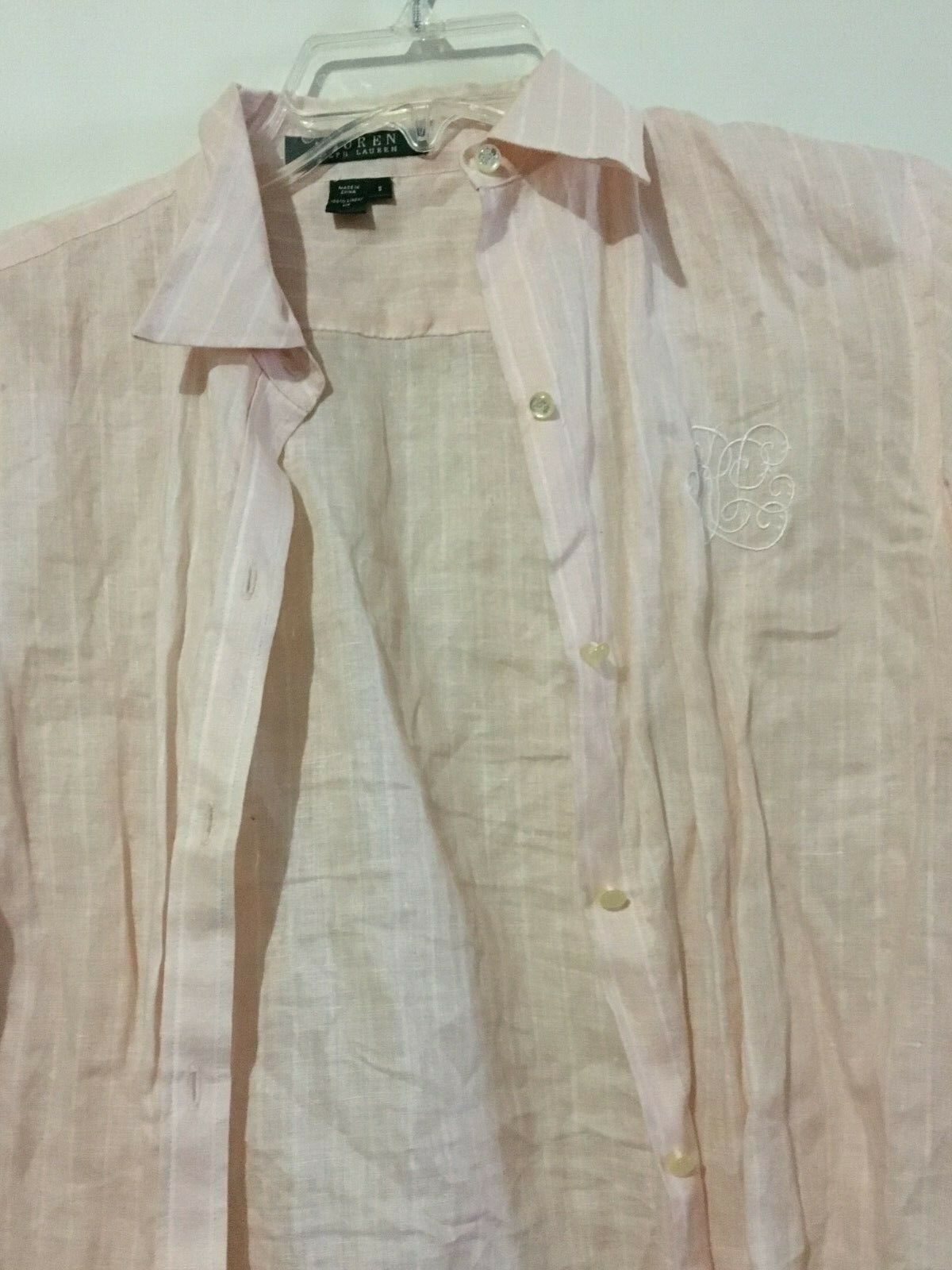 Ralph Lauren bluesh Pink Stripe 100% Linen Size S Shirt Top Blouse Women Stylish