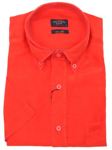 """Paul /& Shark Yachting Hemd Shirt Kurzarm 42 16.5/"""" 100/% Seide Silk Brusttasche"""