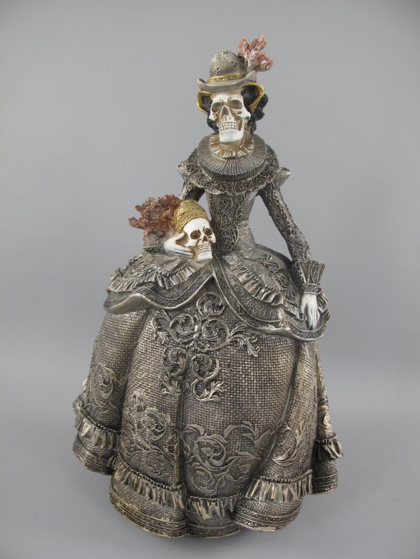 Halloween Frau Totenkopf farbig H.43x26cm zur Party Gag Curios Dekoration neu