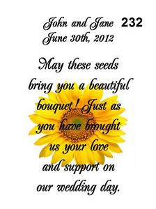 Image Is Loading Wedding Favors Seed Packets Personalized Sunflower Set Of